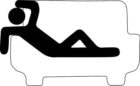 Icon that represents an individual lies on a sofa emulating a person with hangover.