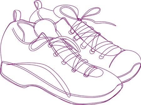 Sketching of a pair of sneakers in purple lines. Stock Vector - 16440362