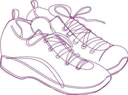 Sketching of a pair of sneakers in purple lines. Illustration