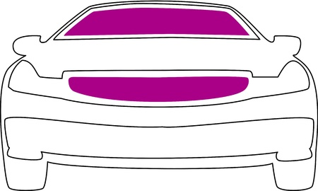 Lines of the front of an ordinary car with areas colored in purple.