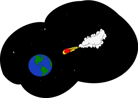 Asteroid in space travels in the direction of the Earth. Illustration
