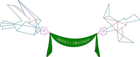 Stylised birds hang on in the air a green Christmas signage. Stock Vector - 17045179