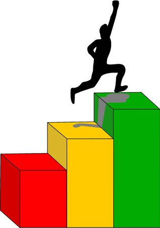 Man hops colorful steps up demonstrating success achievement. Illustration