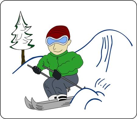 Youngster in winter sportwear runs down snowy hill.