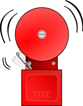 Red fire alarm goes off and rings the bell. Illustration