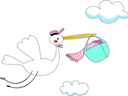 White large stork with long yellow stout bills carries baby wrapped in pink sheets inside a blue basket. Illustration