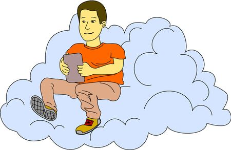 Young man checks his tablet while he sits in a cloud. Vector