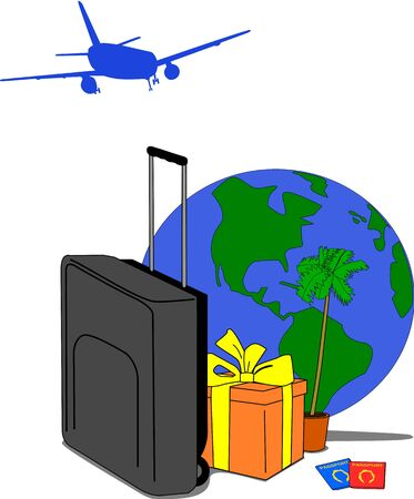 Image containing traveling motives such as suitcase, jet, gift, palm tree, globe and passports. Illustration