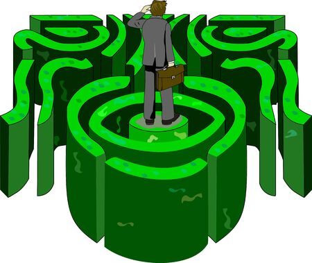 A business professional looks in the distance trying to find his way out of a labyrinth. Illustration