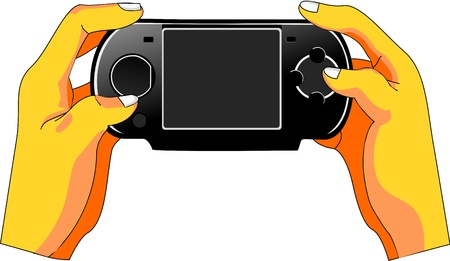 Users hands manipulate a handheld game console. The screen is empty to fit lettering and adverts. Vector