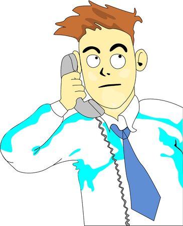 Frame of business man cartoon alike who makes a telephone call. Illustration