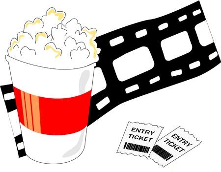 ядра: Попкорн ведро, билеты в кино и рулон пленки представляют киноиндустрию. Иллюстрация
