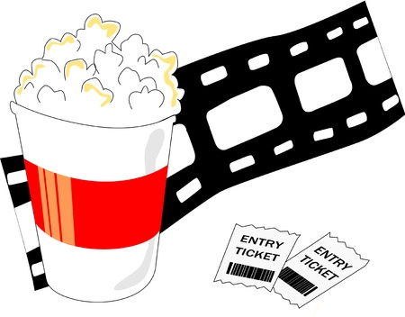 A popcorn bucket, movie tickets and a film roll represent the movie industry. Vector
