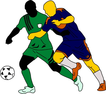 Two silhouettes of soccer players go after the ball.