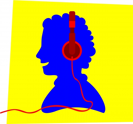 Blue silhouette of a smiling young person wearing a red colored headphone, in front of a yellow frame, apparently listens to music. Illustration