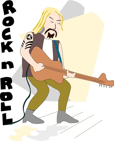 Rock musician plays guitar under the lights with rock and roll words beside him. Stock Vector - 18531544