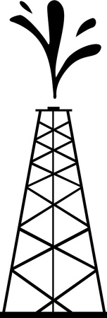 Tall petrol tower spills crude oil into the air as an indication of new founded oil.  Vector