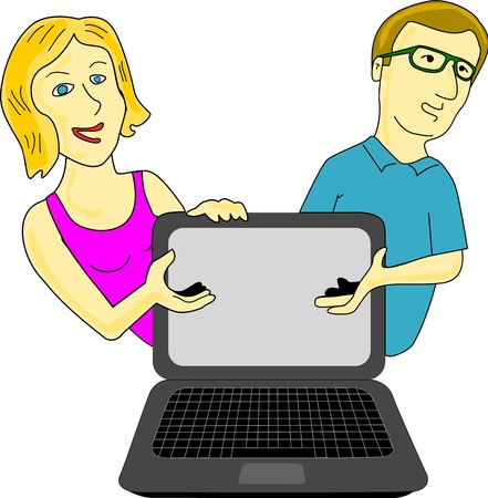 Couple presents computer or supposedly technological adverts on the computer screen, which can be added subsequently.   Illustration