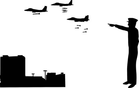 A silhouette scene of a commissioned officer in the army sending jets to attack the city.