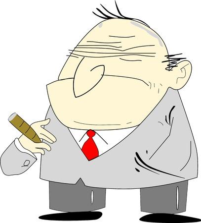 Cartoon alike of an old man depicted as a grumpy bad boss. Vector