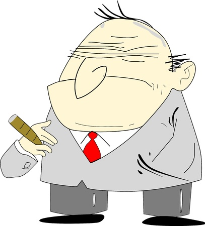Cartoon alike of an old man depicted as a grumpy bad boss.