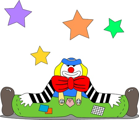 A cheerful clown sits on the ground with open legs and stars hanging in the air