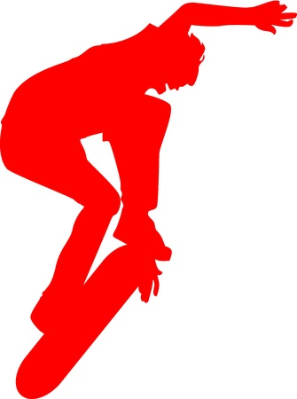 Red silhouette of a skateboarder flipping the skateboard in the air.