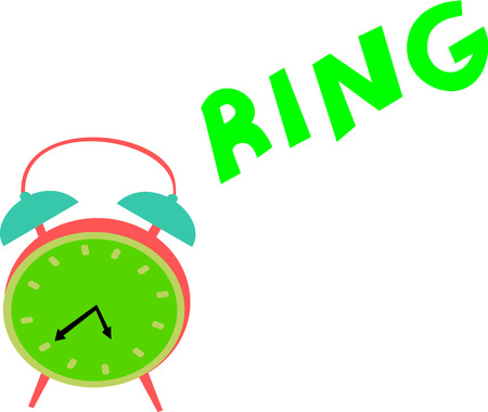 A vintage green clock rings out loud in order to wake up someone. Illustration