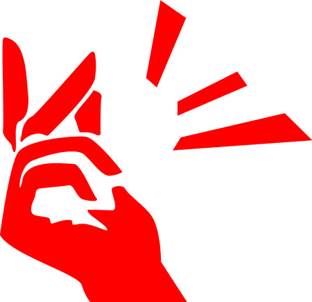 A modern representation of a hand shows fingers snapping as an idea or solution being made. Vector