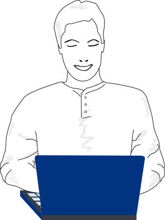 Lines of a young man typing and checking a blue computer. Illustration