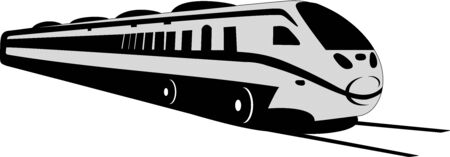 Modern lines depicts a grey train on the tracks. Illustration