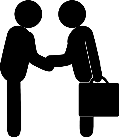 Representations of human beings shake hands as if they agree on something or settle a business deal.