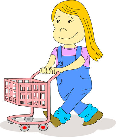 Little girl pushes a shopping cart as if she is in a supermarket or she is playing  with her friends. Illustration