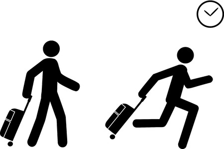 human representation: A person depicted as a human representation pushes a travel bag and starts to run as he sees a clock, indicating he is late to board or to check in.