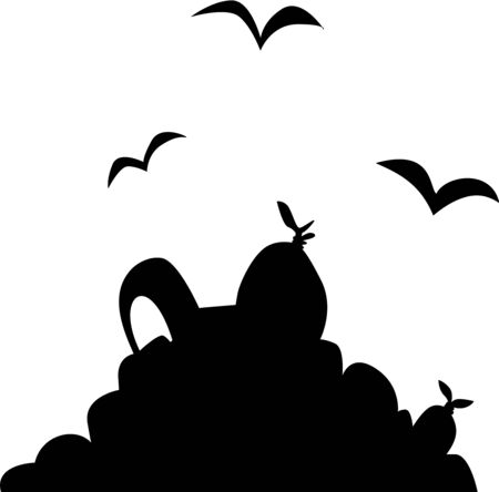 undesirable: A silhouette of a pile of rubbish and scavenger birds.