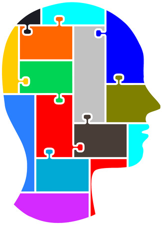 La silueta de una cabeza humana vista como un rompecabezas se puede separar y poner las piezas juntas.