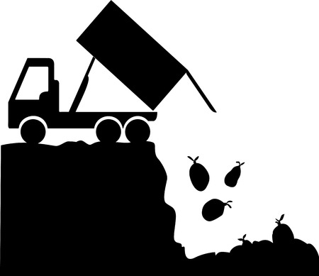 A silhouette of a garbage truck which is unloading trash bags into a landfill.
