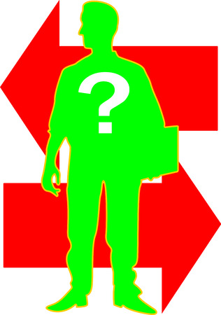 A silhouette of a business man stands alone carrying a file with an interrogation mark on his chest, and arrows behind him with opposite directions. Illustration
