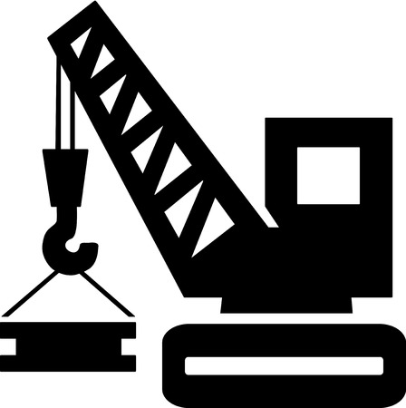 Silhouette of a crane lowering a heavy bar.