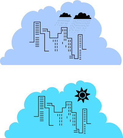Two examples of a city skyline, with different tones to illustrate a sunny and a rainy day.