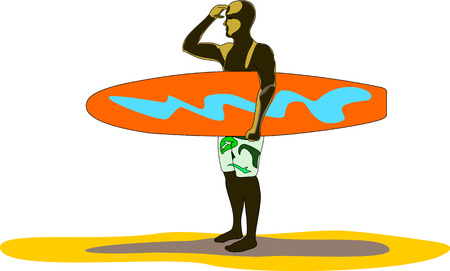 Young man, who holds his red and blue surfboard, looks at the horizon for waves. Illustration