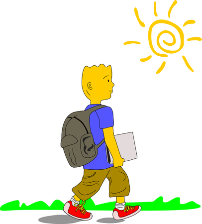 Kid wearing blue shirt, brown pants and red sneakers walks to school carrying his backpack and a file, on a sunny day.