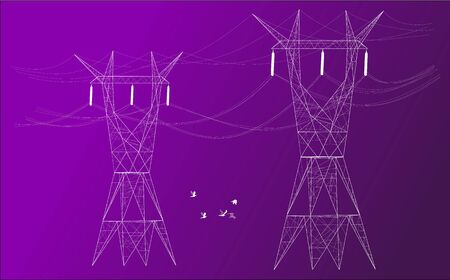 Silhouette of two electrical posts distributors in colored background. Illustration