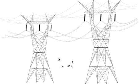 Two silhouettes of electrical posts distributors stands tall as a flock of birds fly between them.