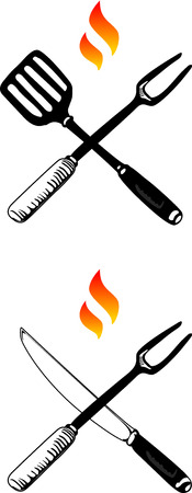 Two symbols of barbecue exemplified as crossed fork and knife, and fork and spatula, with flames above them.