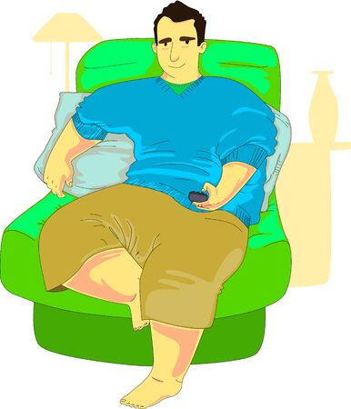 snug: Chubby guy sitting on a stuffed armchair browsing TV in his living room.