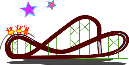 Representation of a real rollercoaster with happy patrons celebrating the ride.