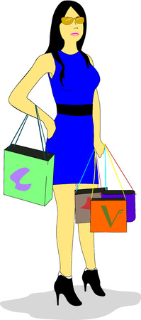 Woman dressed in blue dress and black belt holds shopping bags. Illustration