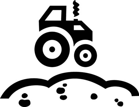 Symbol of tractor running on the ground. Illustration