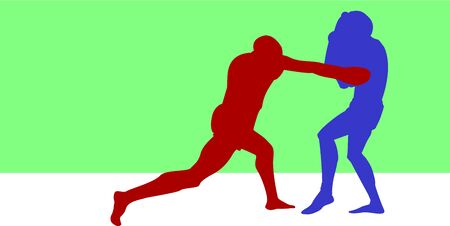 Silhouettes of boxing athletes compete against each other with a green background beneath them. Illustration